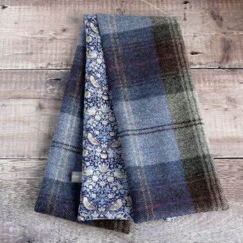 Plaid tweed and Strawberry Thief blue scarf