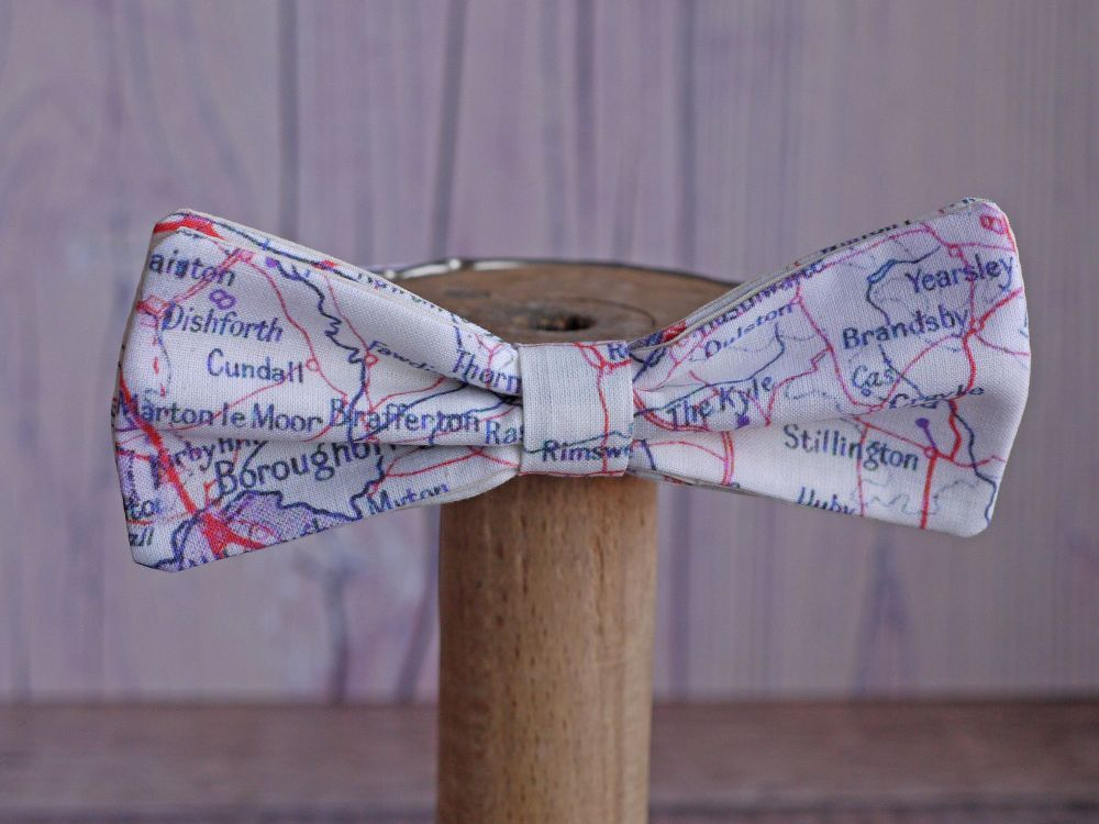 <!-003->Map print bow ties