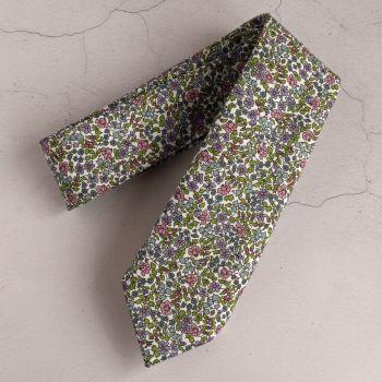 Floral Liberty tana lawn tie - Emilia's flowers green