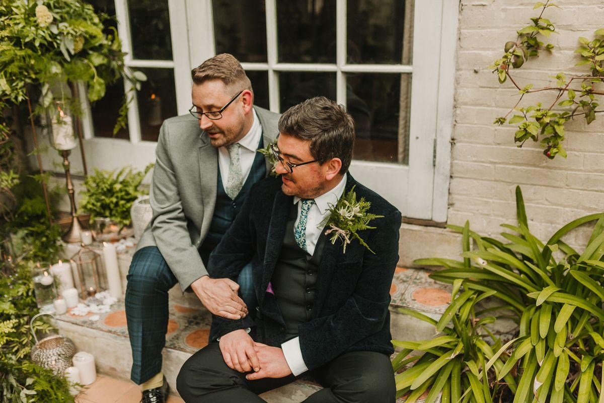 Liberty print ties for same sex wedding
