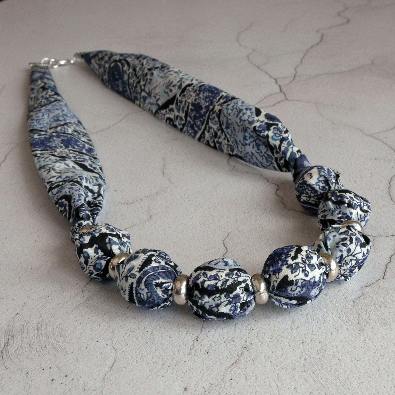 Liberty print necklace - Bourton blue paisley
