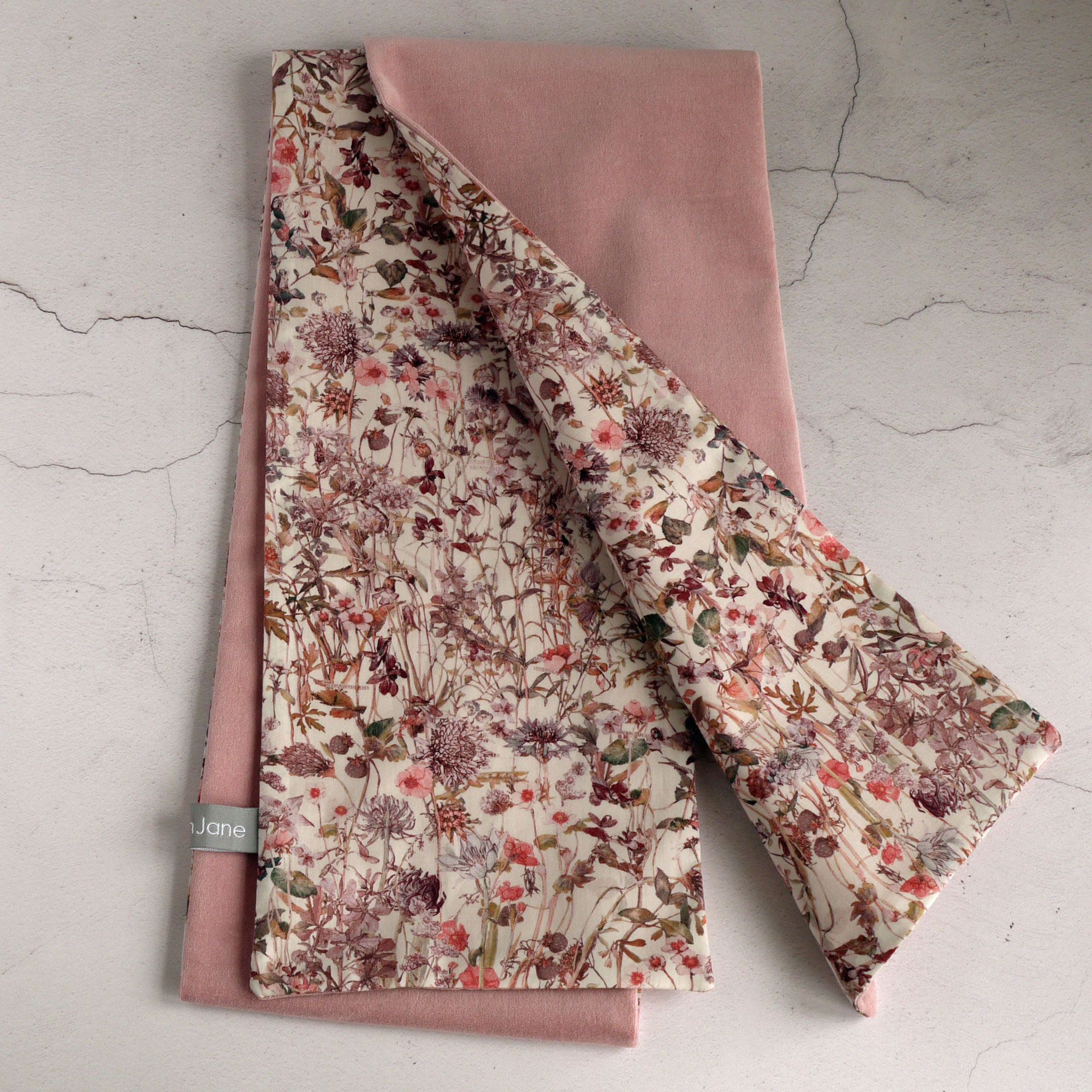 Liberty Wild Flowers and Dusty Pink velvet scarf