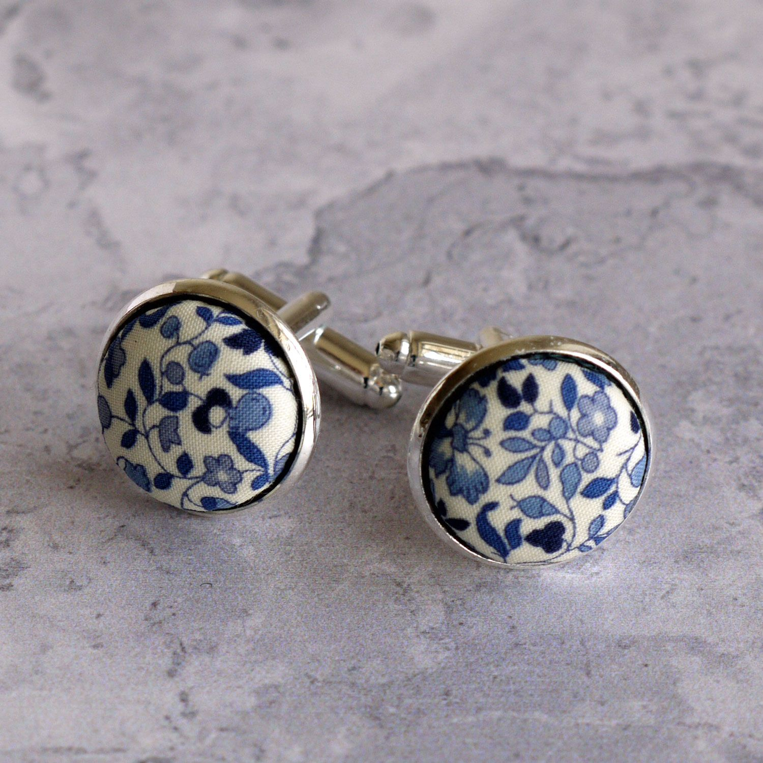 cufflinks made with Liberty Katie & Millie blue