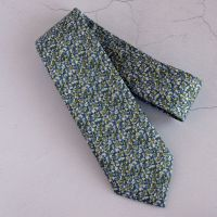 Pepper green blue tie made from Liberty fabric