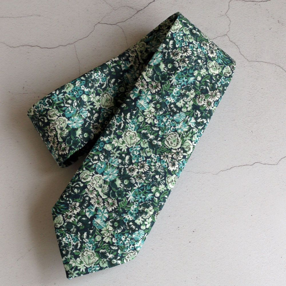 Custom order for 6 slim width Liberty tana lawn ties - Chive green