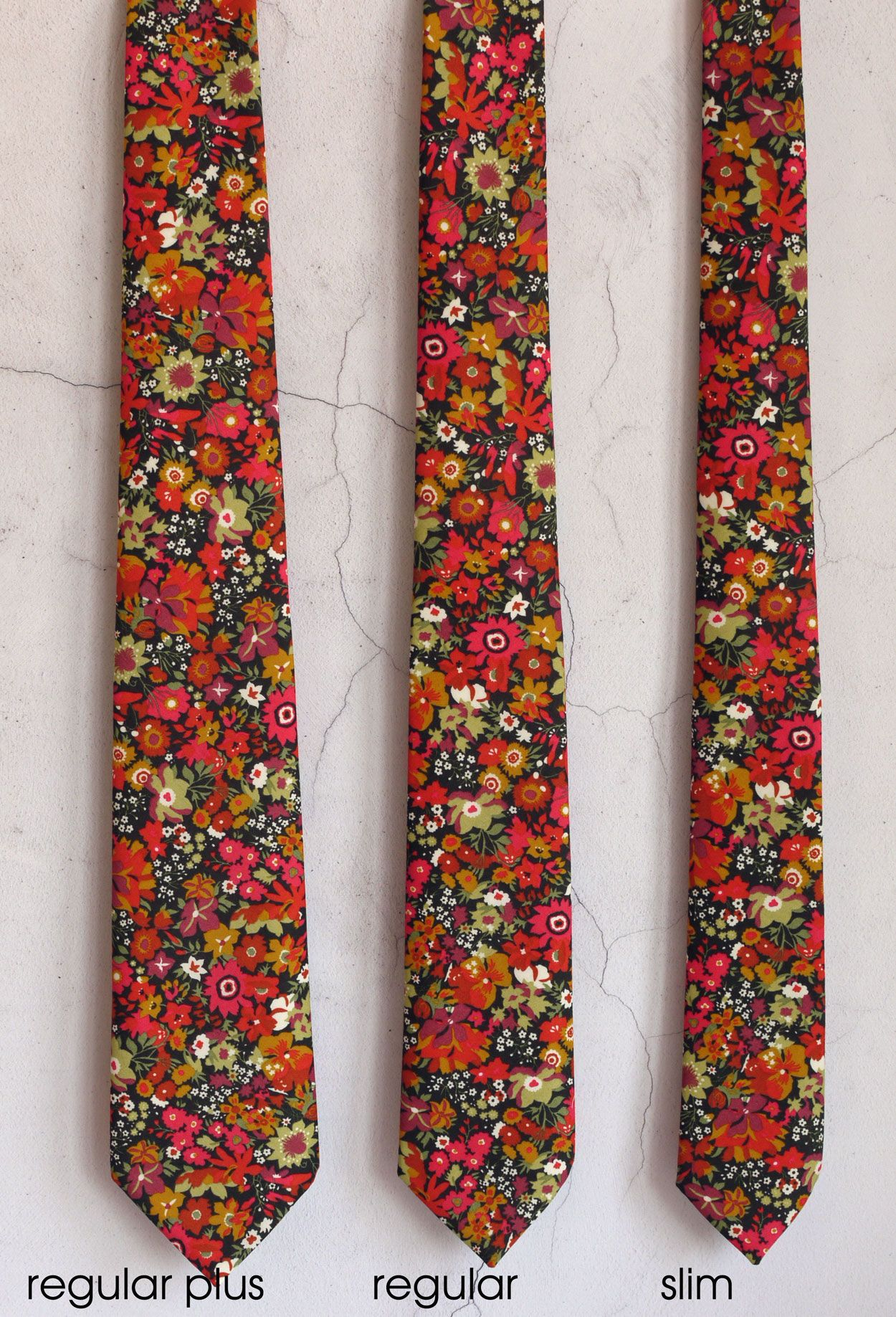 3 widths of Liberty print ties available from CatkinJane