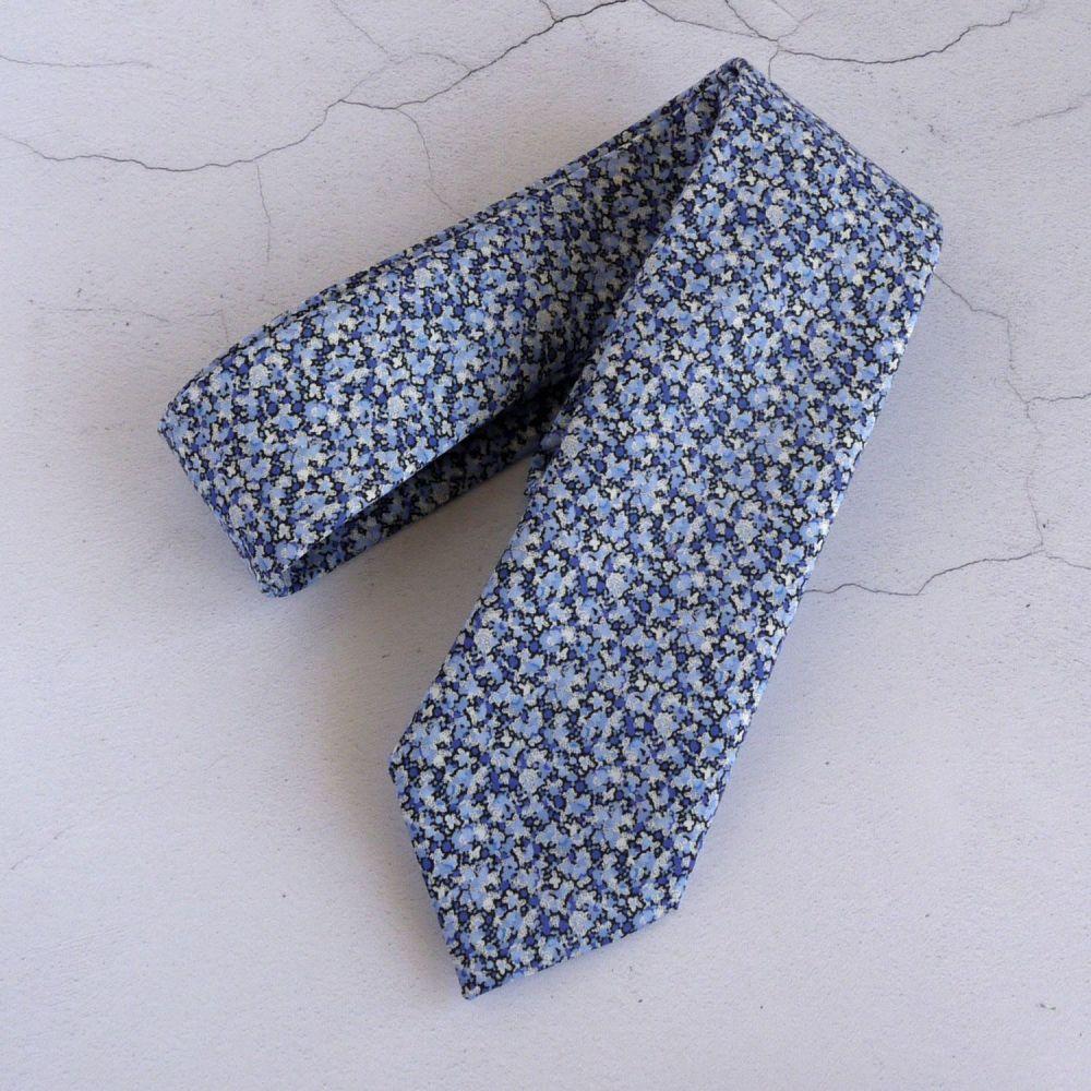 Men's handmade Liberty tana lawn tie - Pepper blue