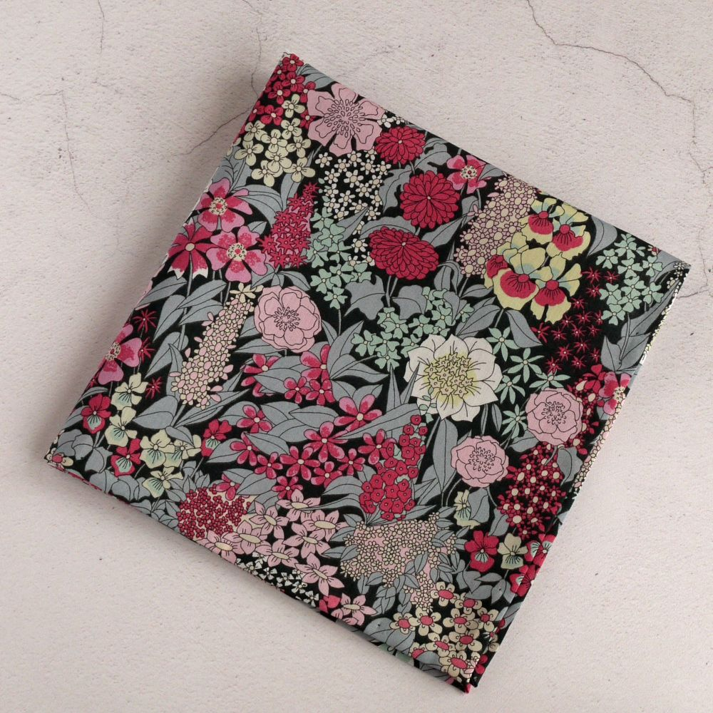 Floral Liberty pocket square - Ciara grey and pink