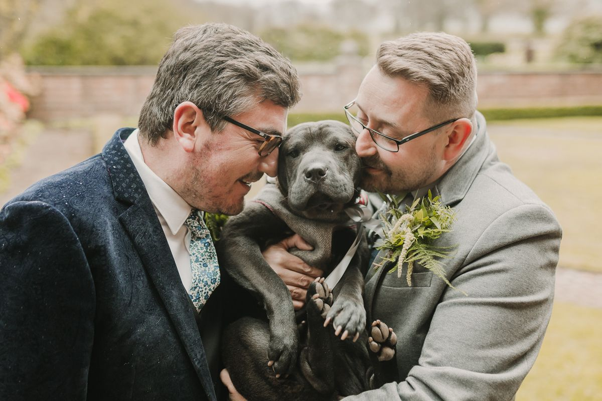 Two grooms same sex wedding with dog