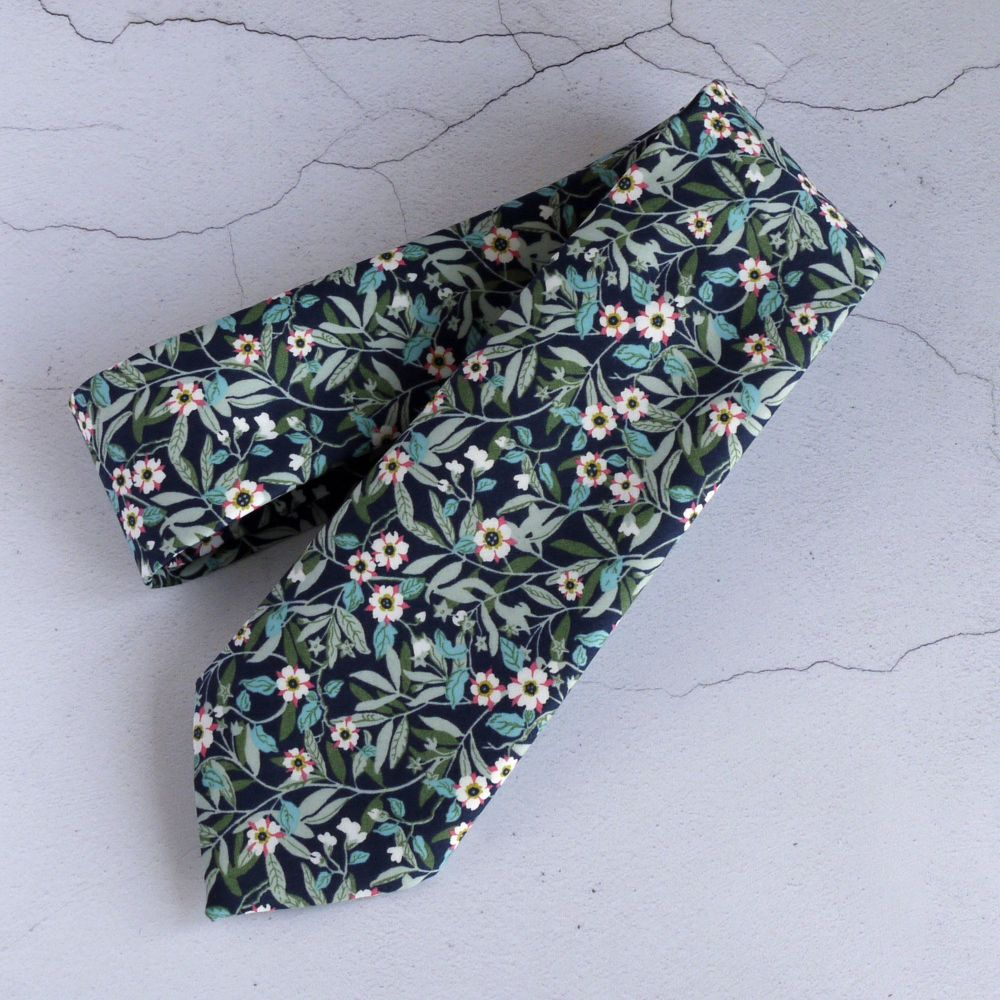 Custom order for seven gift boxed hand-stitched Liberty print ties with mat