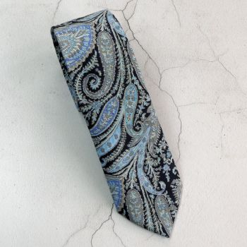 Felix & Isabelle navy blue and grey paisley tie made from Liberty fabric