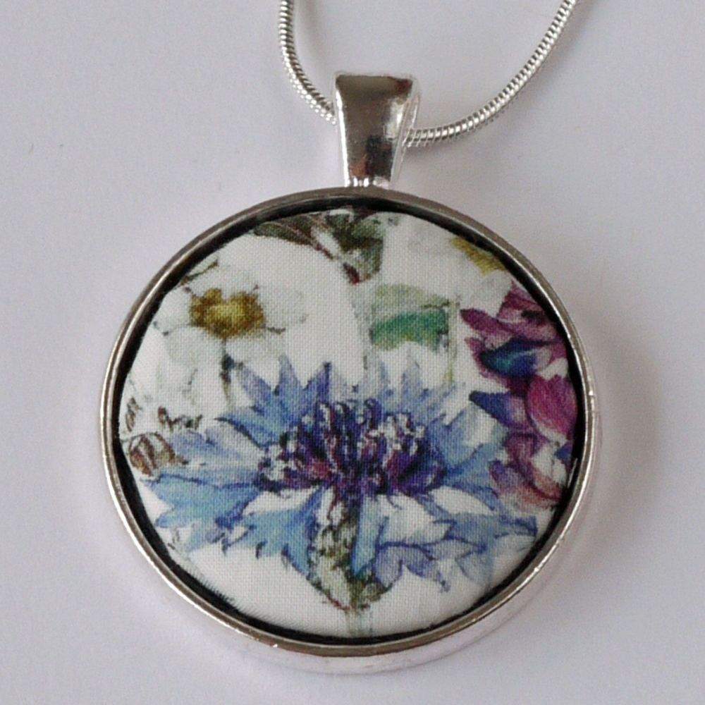 Floral pendant - made with Liberty Wild Flowers fabric