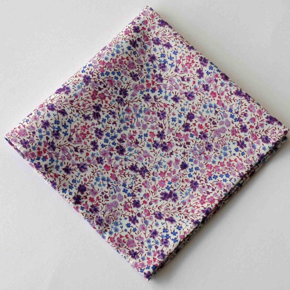 Purple floral pocket square - Liberty tana lawn Phoebe