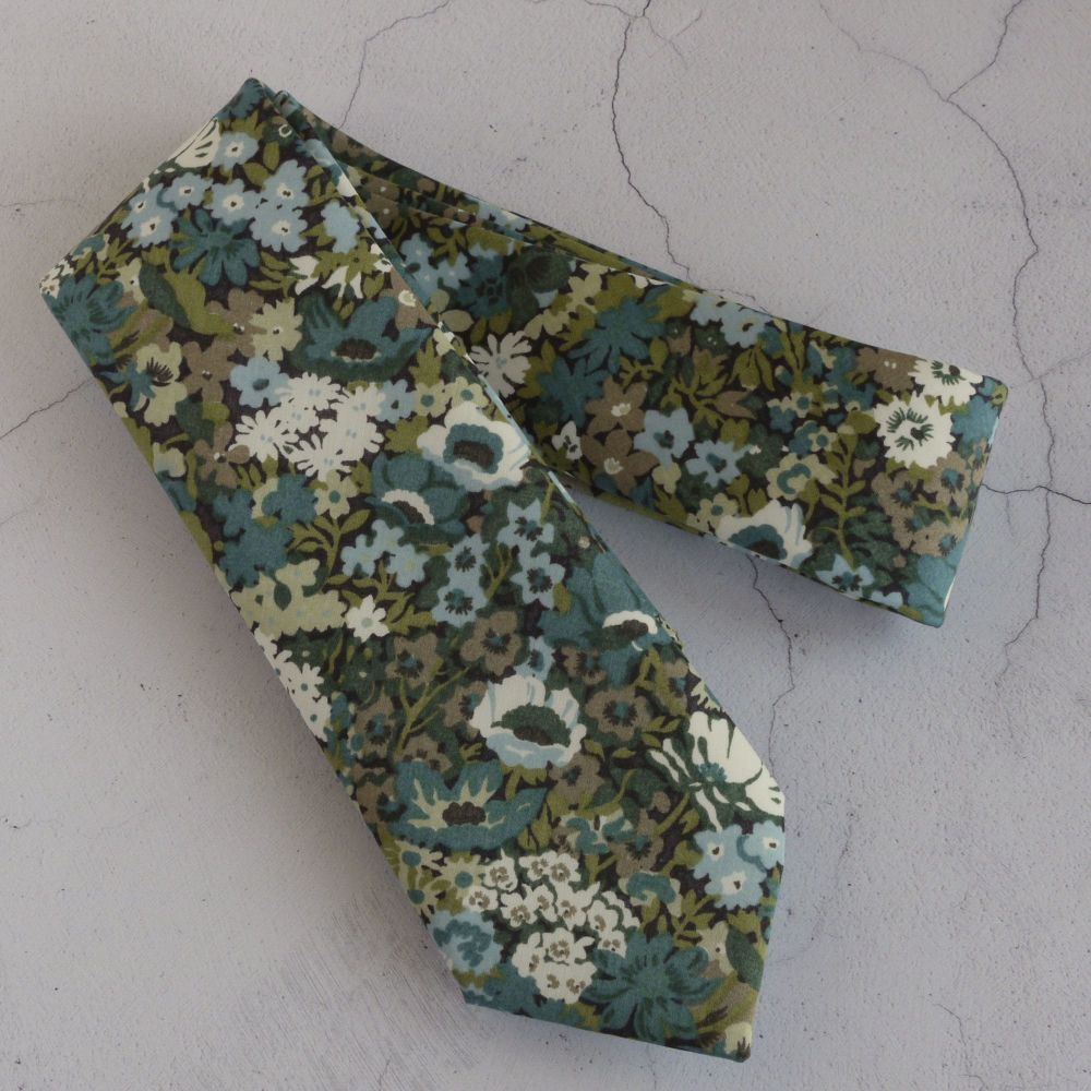 Custom order for tie, bow tie and bows in Thorpe blue green; plus pocket sq