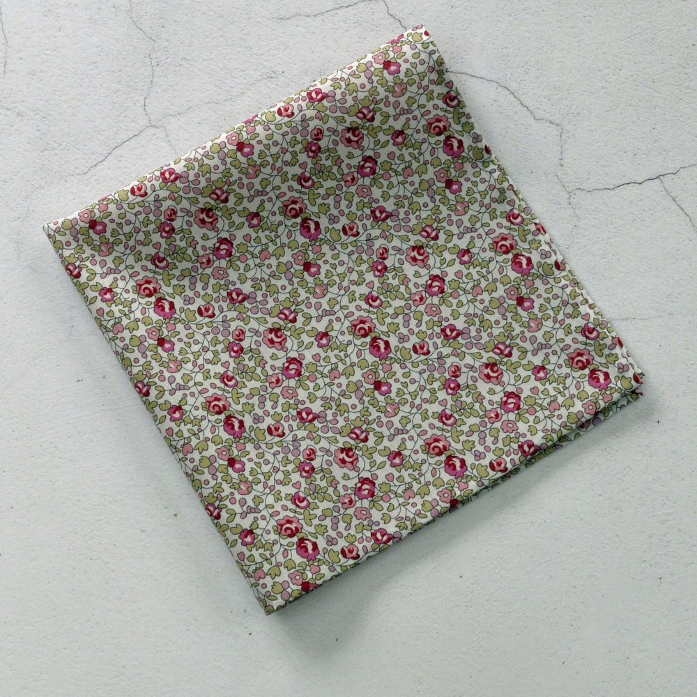 Pink floral pocket square made with Liberty tana lawn Eloise