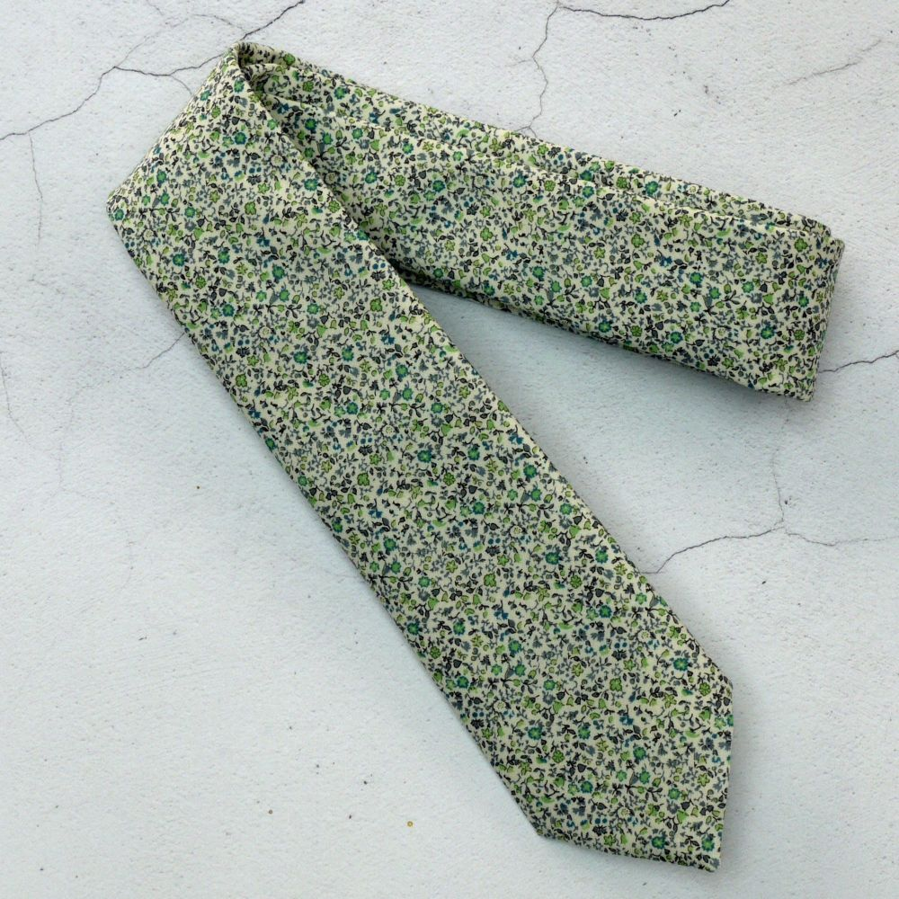 Green ditsy floral tie made from Liberty fabric - Newland green