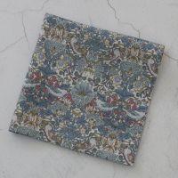 Strawberry Thief blue grey pocket square