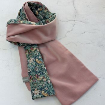 Dusty pink velvet and green Strawberry Thief scarf
