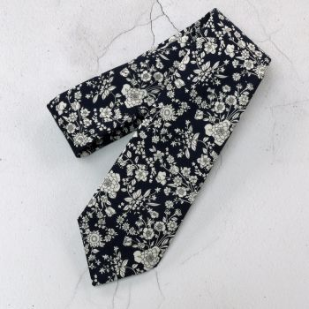 Floral tie made with Liberty fabric - Summer Blooms navy