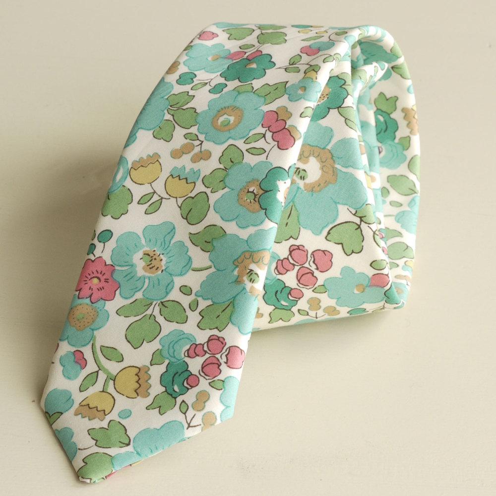 <!-113->Men's Handmade Liberty Tana Lawn Tie - Betsy aqua green