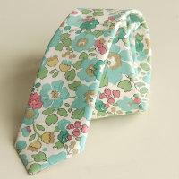 Men's handmade floral Liberty tana lawn tie  - Betsy aqua green