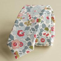Men's handmade foral Liberty tana lawn tie - Betsy grey