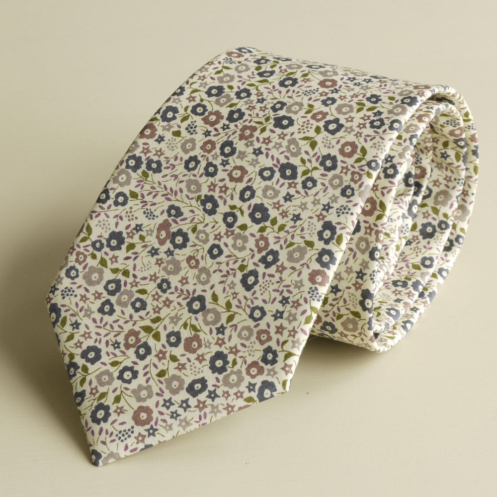 <!-111->Men's Handmade Liberty Tana Lawn Tie - Fairford brown