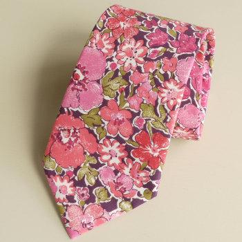 Handmade Liberty tana lawn tie - Gemma pink
