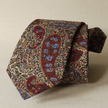 Bourton brown paisley tie made from Liberty tana lawn