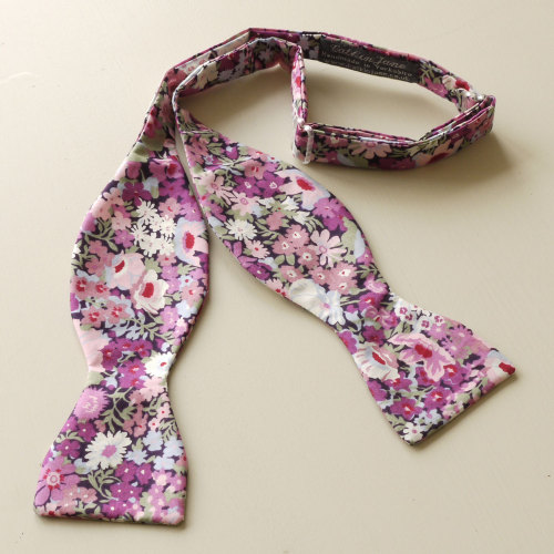 Thorpe purple Liberty print floral bow tie