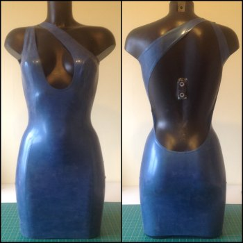 Rubber Latex Teardrop Cut-Out Cocktail Dress