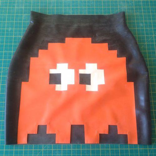 Orange and Black 8-Bit Pacman Inspired Skirt, UK size 8