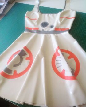Rubber Latex Star Wars BB8 Inspired Skater Dress