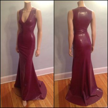 Floor Length V-Neck Latex Gown