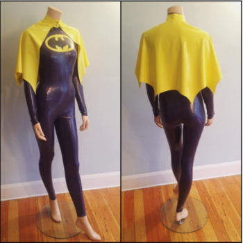 Rubber Latex Batgirl Inspired Catsuit and Cape