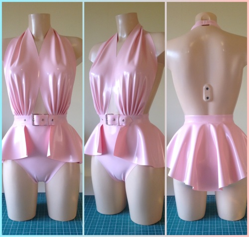 Pin Up Inspired Bodysuit and Peplum Belt Bundle