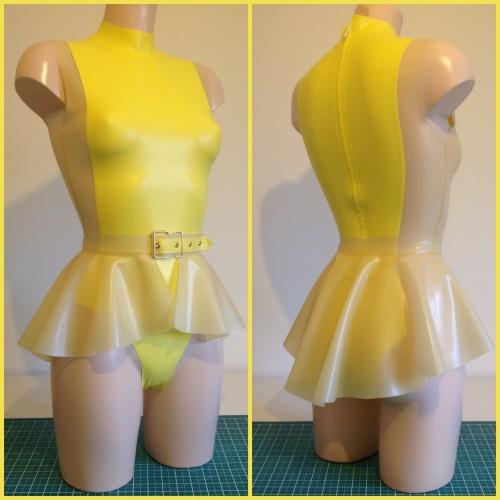 High Neck Panel Bodysuit and Peplum Belt Bundle