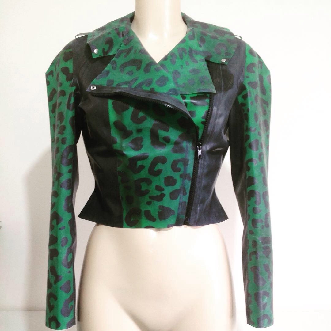 Leopard Panel Cropped Biker Jacket