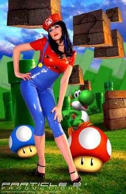 Super Mario Inspired Two Piece Cosplay Dress-up Comic Outfit in Latex Rubbe