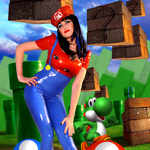 Super Mario Inspired Two Piece Cosplay Dress-up Comic Outfit in Latex Rubber