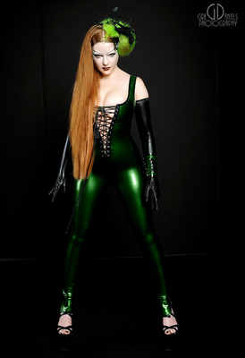 Rubber Latex Lace-Up Catsuit