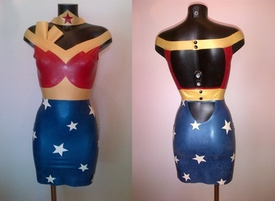 Latex Rubber Wonder Woman Inspired Outfit
