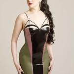 Latex Rubber Strap Detail Dress 'Structure'