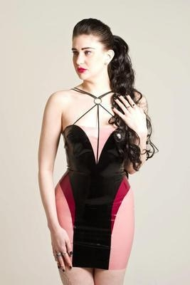 Latex Rubber Strap Detail Dress 'Armour'