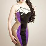 Latex Rubber Strap Detail Dress 'Curves'