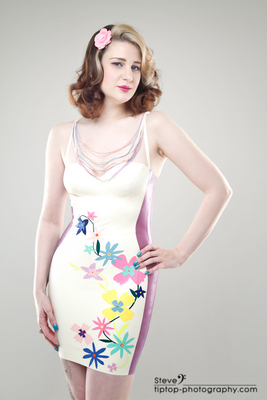 Latex Rubber Floral Applique Dress