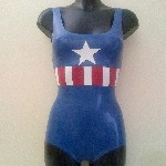 Rubber Latex Captain America Inspired Bodysuit