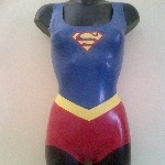 Rubber Latex Supergirl Bodysuit