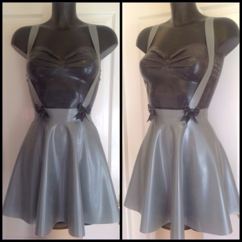 Rubber Latex Basics High Waisted Skater Skirt With Braces