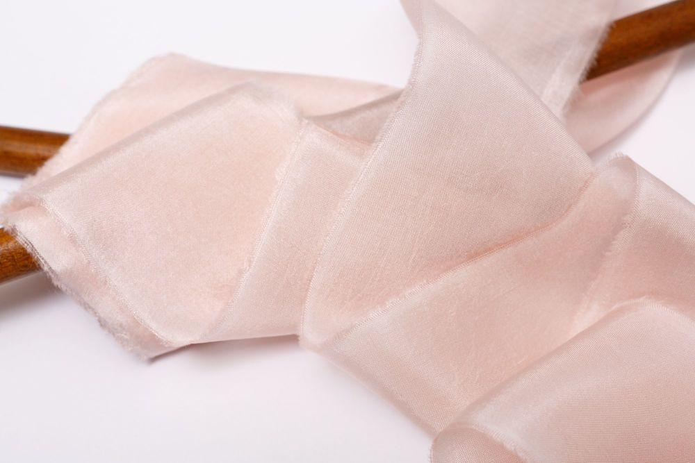 Blush silk habotai ribbon